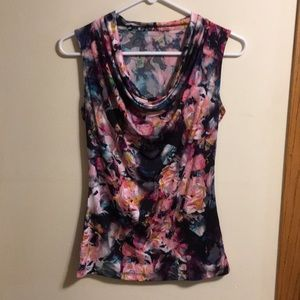 Worthington drape neck sleeveless floral blouse